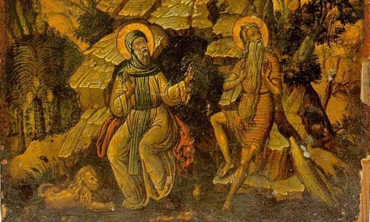 Икона Святого Антония и Павла Тевы - вторая половина 17-го до н.э. A.D. - Ноль Потамос, Афон